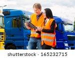 logistics   proud driver or... | Shutterstock . vector #165232715