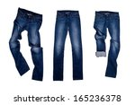 three blue jeans isolated on... | Shutterstock . vector #165236378