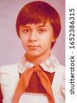 USSR, LENINGRAD - CIRCA 1983: Vintage photo of pioneer school girl Inna Tsyukevitch portrait in Leningrad, USSR
