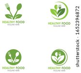 set of healthy food logo fork... | Shutterstock .eps vector #1652396872