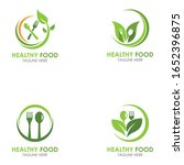 set of healthy food logo fork... | Shutterstock .eps vector #1652396875