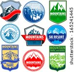 Set Of Vector Mountains Emblem...