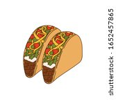 taco hand drawn in vector. | Shutterstock .eps vector #1652457865