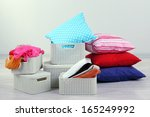plastic baskets with things in... | Shutterstock . vector #165249992