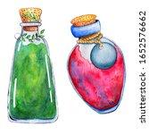 Watercolor Vintage Bottles Wit...