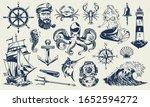 vintage monochrome nautical... | Shutterstock . vector #1652594272