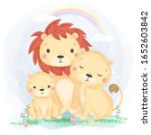 watercolor style lion family... | Shutterstock .eps vector #1652603842