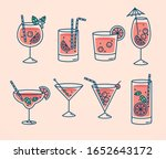 cocktails collection  alcoholic ... | Shutterstock .eps vector #1652643172
