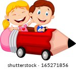happy children riding pencil car | Shutterstock .eps vector #165271856
