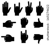 Set Of Hand Gestures. Black...