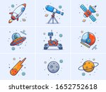 A Set Of Space Elements Vector...
