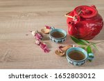 Tea Time Concept. Red Teapot ...