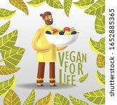 cartoon joyful vegan man...   Shutterstock .eps vector #1652885365