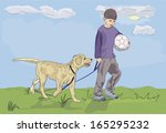 boy walking with dog   ... | Shutterstock .eps vector #165295232