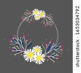 wreath flower vector  floral... | Shutterstock .eps vector #1653034792