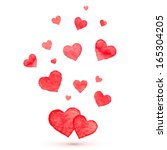 watercolor lovely vector hearts | Shutterstock .eps vector #165304205