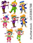 set of funny clowns in... | Shutterstock .eps vector #1653083788