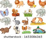 large set of wildlife with many ... | Shutterstock .eps vector #1653086365