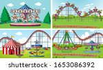 four scenes with many rides in... | Shutterstock .eps vector #1653086392