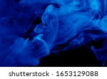 blue watercolor ink in water on ... | Shutterstock . vector #1653129088