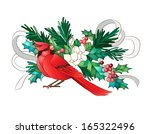 Red Christmas Bird On Christma...
