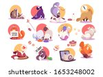set of funny cat icons  cute... | Shutterstock .eps vector #1653248002
