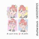 selfie slogan with cartoon girl ... | Shutterstock .eps vector #1653255925