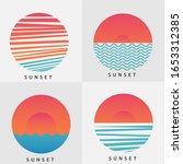 big set of vector orange sunset ... | Shutterstock .eps vector #1653312385