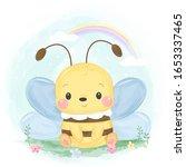 watercolor style bee... | Shutterstock .eps vector #1653337465