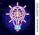 neon signboard brain in light... | Shutterstock .eps vector #1653372622