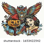 witch woman  owl and jack o'... | Shutterstock .eps vector #1653422542