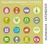 Holidays Colored Grunge Icons...