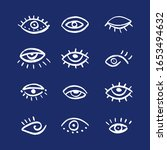 set of hand drawn eyes. doodle... | Shutterstock .eps vector #1653494632