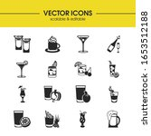 drink icons set with martini ...