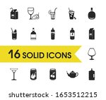 alcohol icons set with soft...