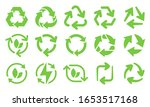 Green Eco Recycle Arrows Icons...