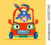 a cute bunny driving a red car | Shutterstock . vector #165357242