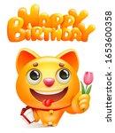 yellow cat cartoon character... | Shutterstock .eps vector #1653600358