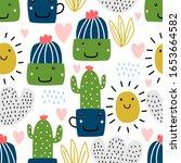 Cactus Pattern Vector...