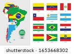 detailed map of south america... | Shutterstock .eps vector #1653668302
