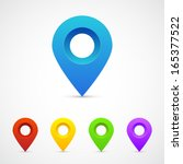 set of map pointers | Shutterstock .eps vector #165377522