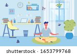 man uses meditation to rest his ... | Shutterstock .eps vector #1653799768