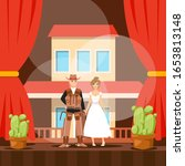 Cowboy on stage, American western theater performance, man and woman actors, people vector illustration. Wild West theatrical play, romantic couple story. Cowboy with beautiful girl on theater stage - stock vector