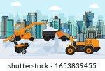 different machines in winter... | Shutterstock .eps vector #1653839455