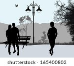 people outdoor in city park... | Shutterstock .eps vector #165400802