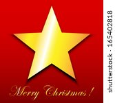 gold star on red merry... | Shutterstock . vector #165402818
