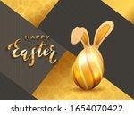 Golden Easter Egg With Rabbit...