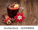 Mulled Wine In A Glass On Old...