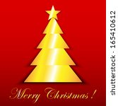 gold star and christmas tree on ...   Shutterstock . vector #165410612
