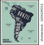 map south america. poster map... | Shutterstock .eps vector #1654109212